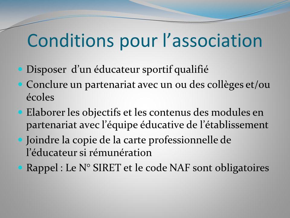 Conditions pour lassociation Disposer dun éducateur sportif qualifié Conclure un partenariat avec un ou des collèges et/ou écoles Elaborer les objecti