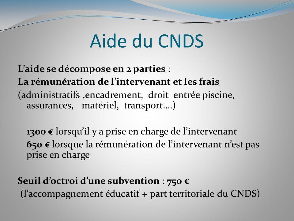Aide du CNDS Laide se décompose en 2 parties : La rémunération de lintervenant et les frais (administratifs,encadrement, droit entrée piscine, assuran