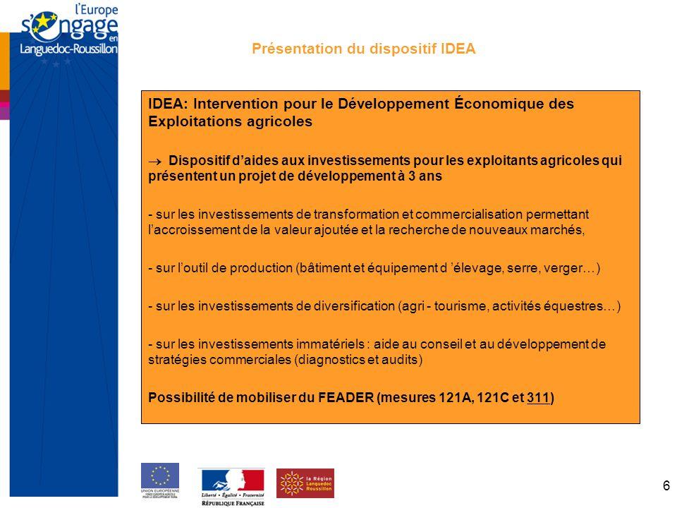 6 Présentation du dispositif IDEA IDEA: Intervention pour le Développement Économique des Exploitations agricoles Dispositif daides aux investissements pour les exploitants agricoles qui présentent un projet de développement à 3 ans - sur les investissements de transformation et commercialisation permettant laccroissement de la valeur ajoutée et la recherche de nouveaux marchés, - sur loutil de production (bâtiment et équipement d élevage, serre, verger…) - sur les investissements de diversification (agri - tourisme, activités équestres…) - sur les investissements immatériels : aide au conseil et au développement de stratégies commerciales (diagnostics et audits) Possibilité de mobiliser du FEADER (mesures 121A, 121C et 311)