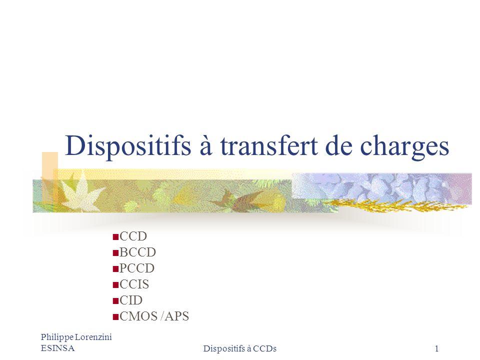 Philippe Lorenzini ESINSADispositifs à CCDs 12 Transfert par champ auto induit Léquation de continuité sécrit (g = r = 0) Au début du transfert, le puits est plein (D>>D n ) transfert par champ auto induit, vers la fin, n(x,t) tend vers 0 et D eff #D n et le transfert est assuré par la diffusion thermique.