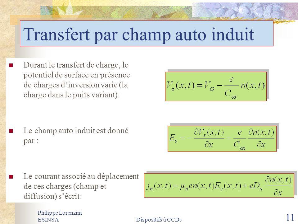 Philippe Lorenzini ESINSADispositifs à CCDs 11 Transfert par champ auto induit Durant le transfert de charge, le potentiel de surface en présence de c