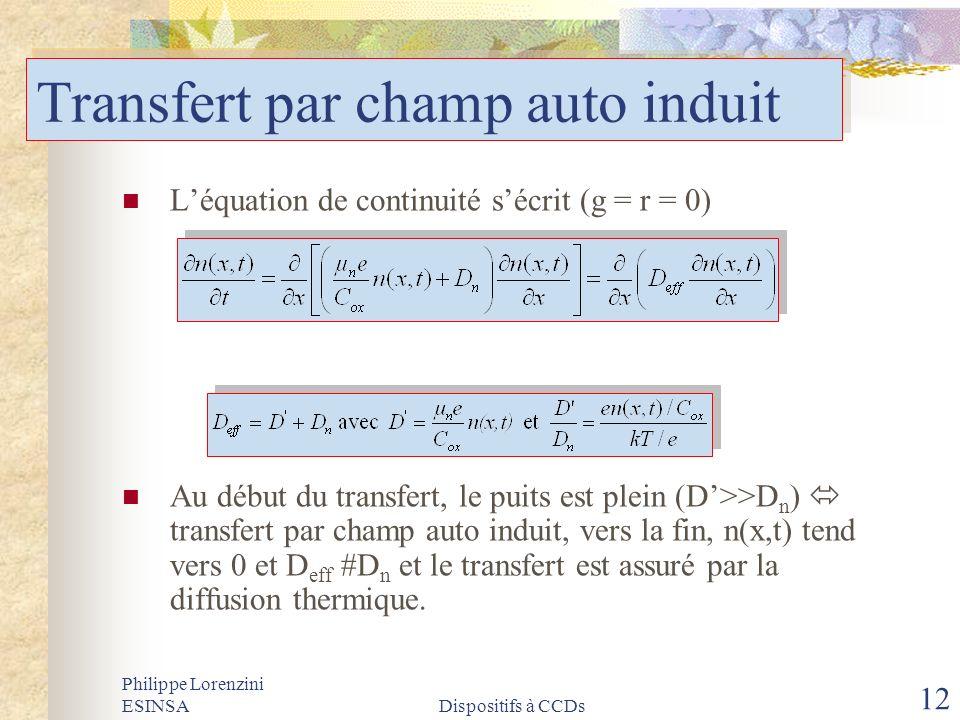 Philippe Lorenzini ESINSADispositifs à CCDs 12 Transfert par champ auto induit Léquation de continuité sécrit (g = r = 0) Au début du transfert, le pu