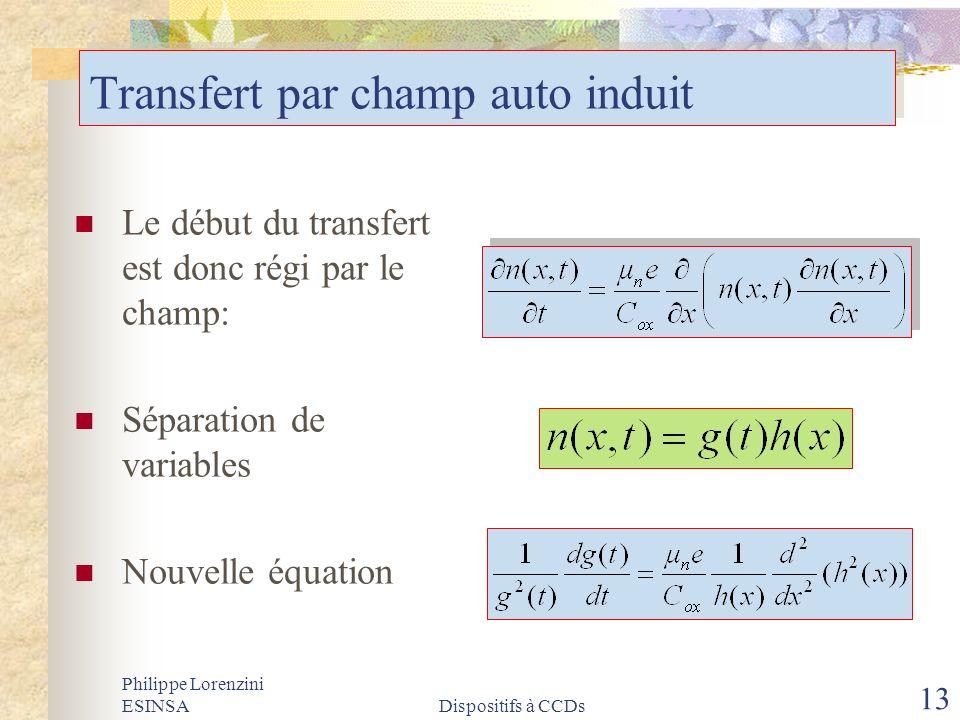 Philippe Lorenzini ESINSADispositifs à CCDs 13 Transfert par champ auto induit Le début du transfert est donc régi par le champ: Séparation de variabl
