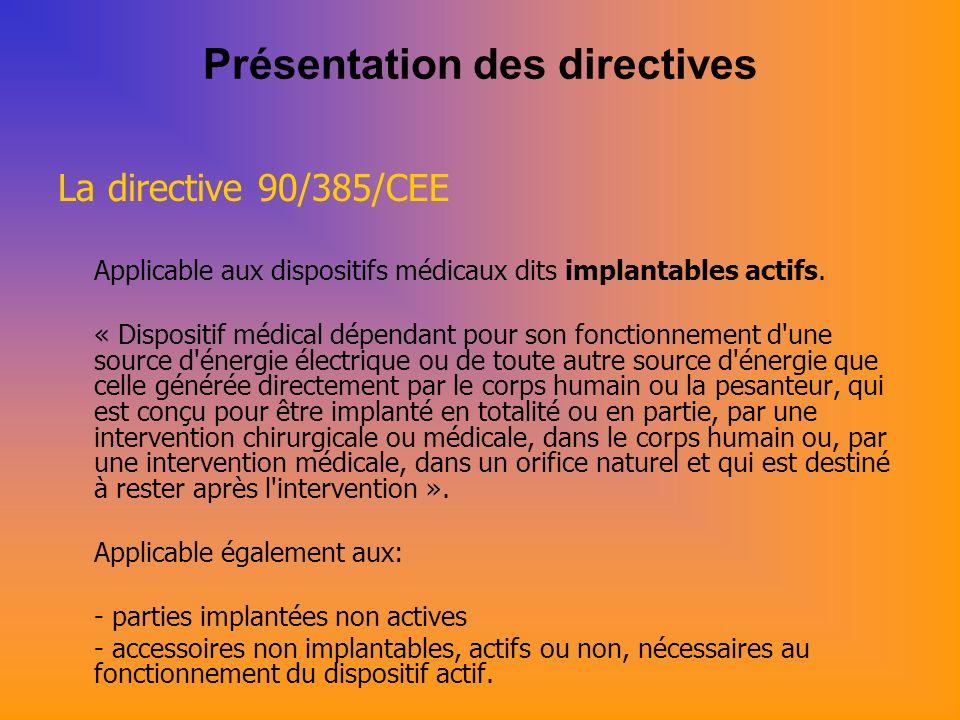 Présentation des directives La directive 90/385/CEE Applicable aux dispositifs médicaux dits implantables actifs.