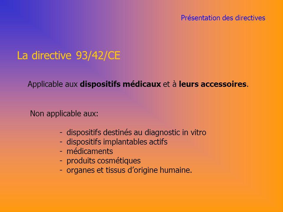 Présentation des directives La directive 93/42/CE Applicable aux dispositifs médicaux et à leurs accessoires.