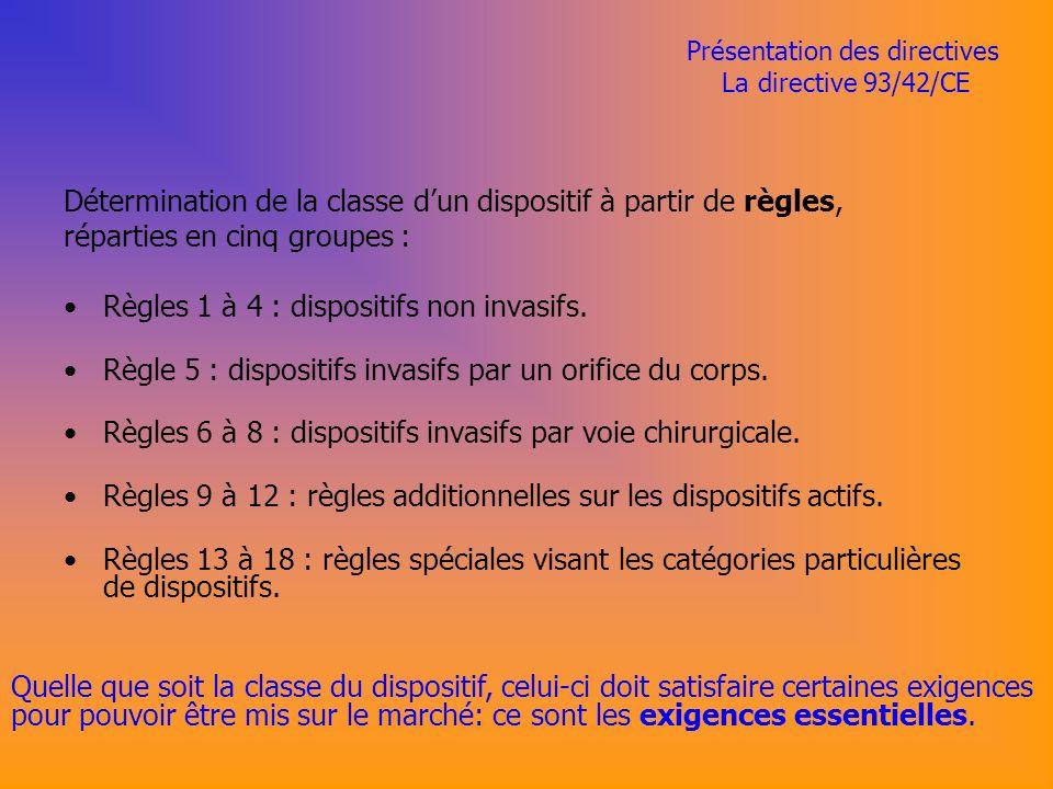 Présentation des directives La directive 93/42/CE Détermination de la classe dun dispositif à partir de règles, réparties en cinq groupes : Règles 1 à 4 : dispositifs non invasifs.