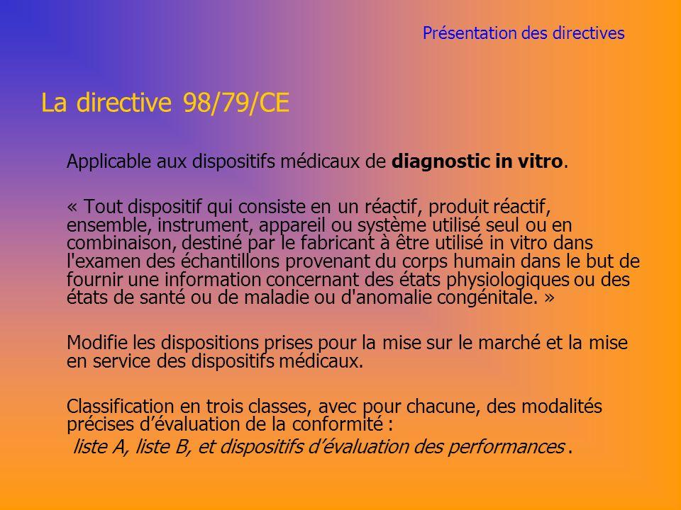 Présentation des directives La directive 98/79/CE Applicable aux dispositifs médicaux de diagnostic in vitro.