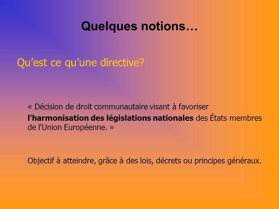 Quelques notions… Objectif dune directive européenne Harmoniser les conditions de: -mise sur le marché -mise en service des dispositifs au niveau des Etats membres de lUnion Européenne.