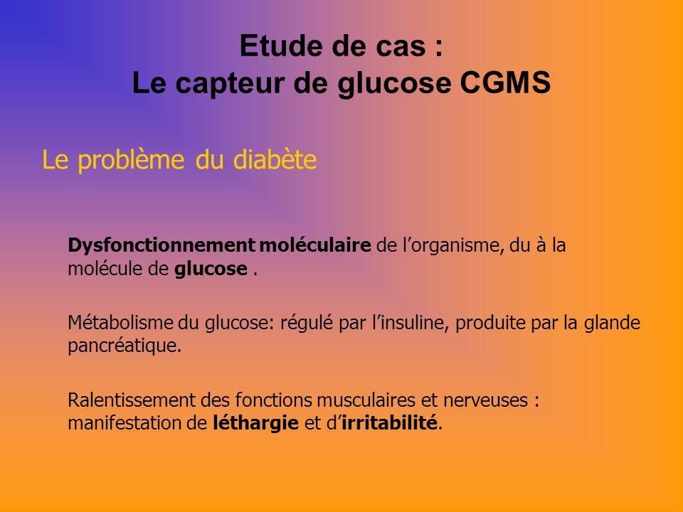 Etude de cas : Le capteur de glucose CGMS Le problème du diabète Dysfonctionnement moléculaire de lorganisme, du à la molécule de glucose.