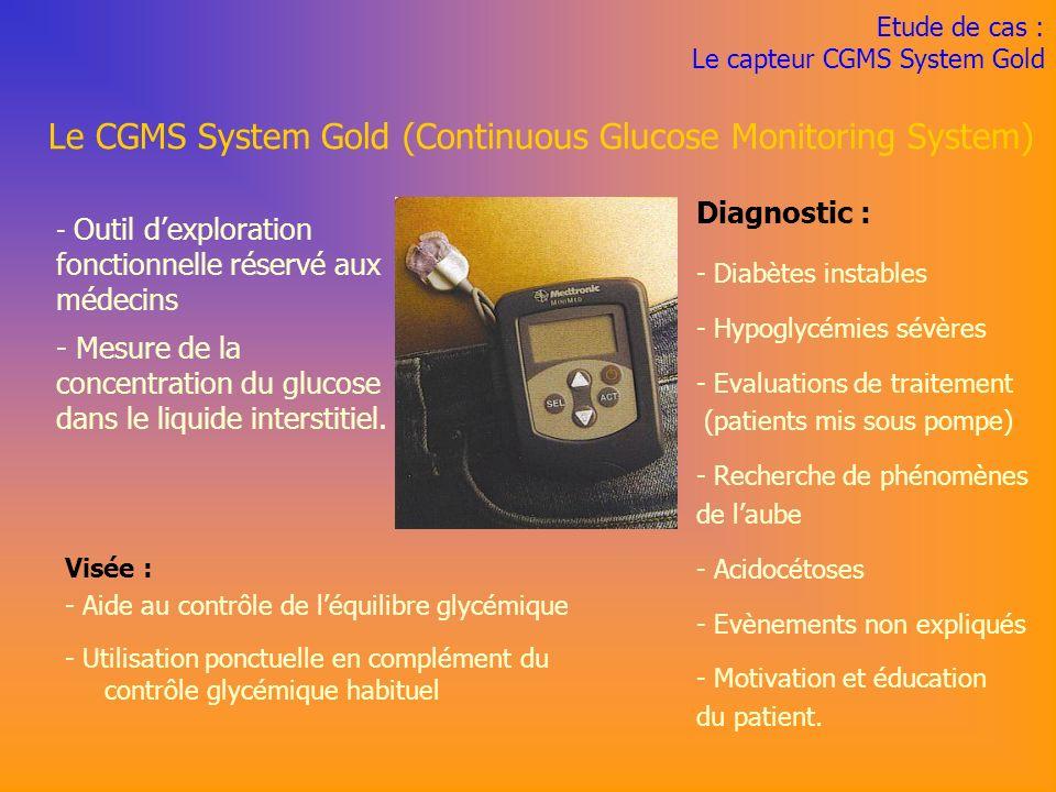 Etude de cas : Le capteur CGMS System Gold Visée : - Aide au contrôle de léquilibre glycémique - Utilisation ponctuelle en complément du contrôle glycémique habituel Le CGMS System Gold (Continuous Glucose Monitoring System) - Outil dexploration fonctionnelle réservé aux médecins - Mesure de la concentration du glucose dans le liquide interstitiel.