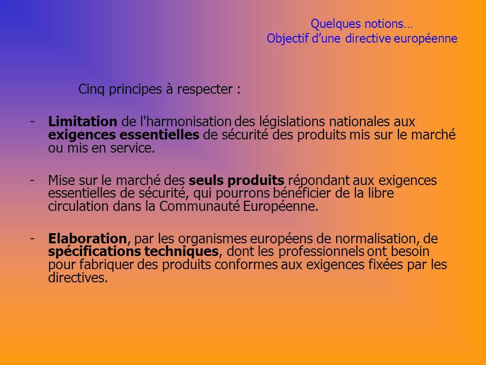 Quelques notions… Objectif dune directive européenne Cinq principes à respecter : -Limitation de l harmonisation des législations nationales aux exigences essentielles de sécurité des produits mis sur le marché ou mis en service.