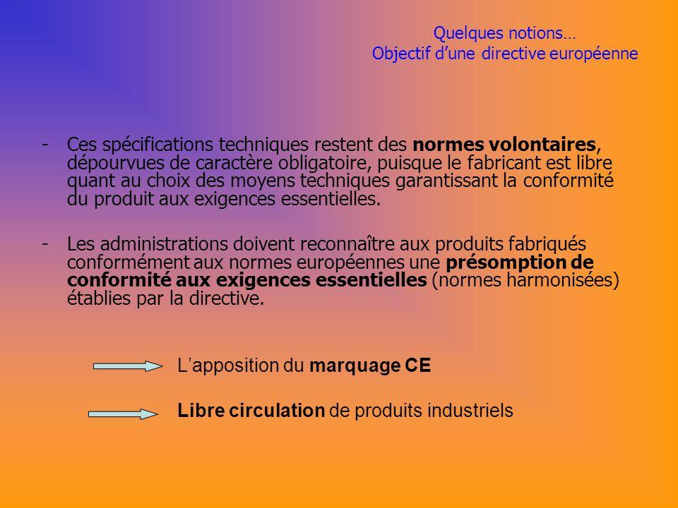Quelques notions… Objectif dune directive européenne -Ces spécifications techniques restent des normes volontaires, dépourvues de caractère obligatoire, puisque le fabricant est libre quant au choix des moyens techniques garantissant la conformité du produit aux exigences essentielles.