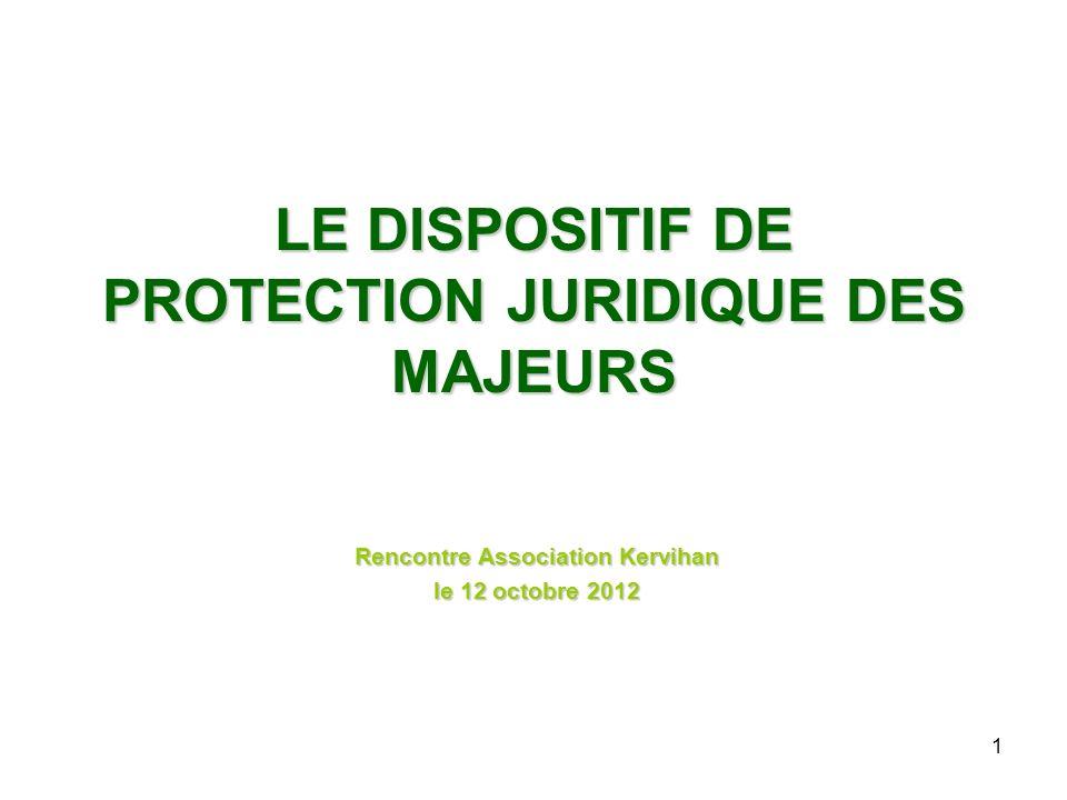 LE DISPOSITIF DE PROTECTION JURIDIQUE DES MAJEURS Rencontre Association Kervihan le 12 octobre 2012 1