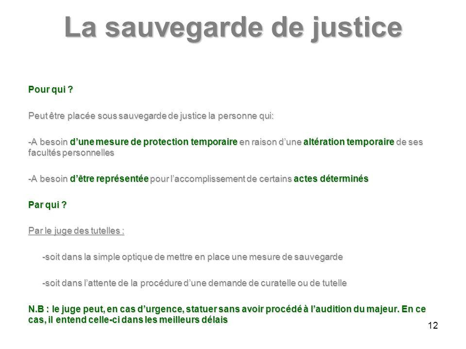 La sauvegarde de justice Pour qui .