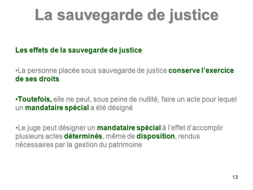 La sauvegarde de justice Les effets de la sauvegarde de justice La personne placée sous sauvegarde de justice conserve lexercice de ses droitsLa perso