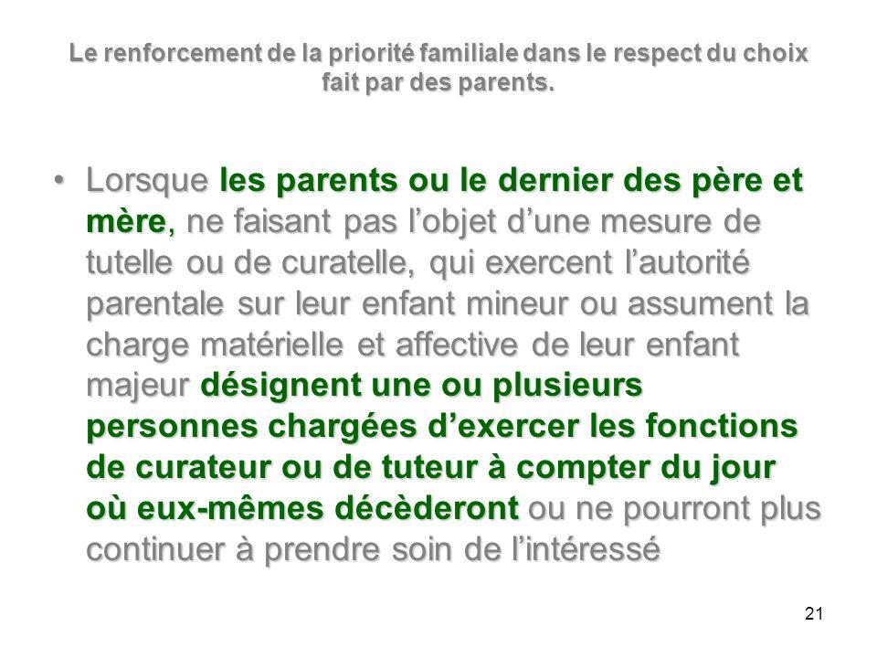 Le renforcement de la priorité familiale dans le respect du choix fait par des parents. Lorsque les parents ou le dernier des père et mère, ne faisant