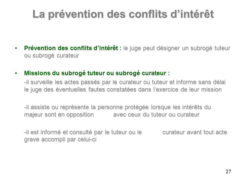 La prévention des conflits dintérêt Prévention des conflits dintérêt :le juge peut désigner un subrogé tuteur ou subrogé curateurPrévention des confli