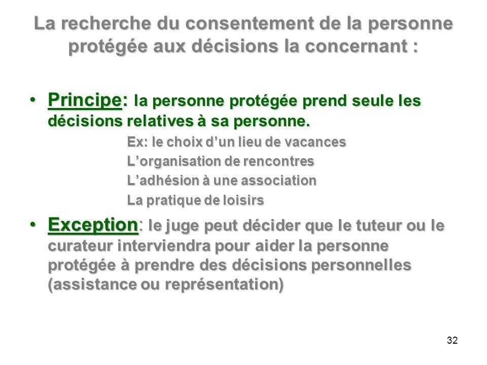 La recherche du consentement de la personne protégée aux décisions la concernant : Principe: la personne protégée prend seule les décisions relatives