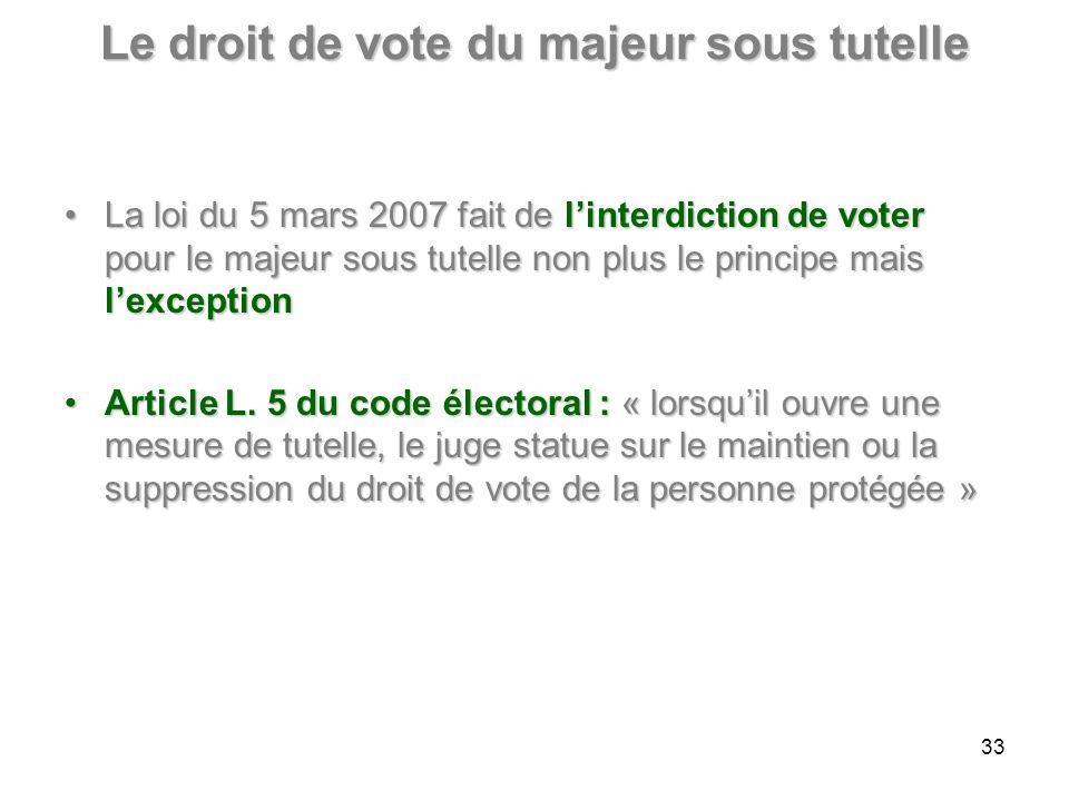 Le droit de vote du majeur sous tutelle La loi du 5 mars 2007 fait de linterdiction de voter pour le majeur sous tutelle non plus le principe mais lexceptionLa loi du 5 mars 2007 fait de linterdiction de voter pour le majeur sous tutelle non plus le principe mais lexception Article L.