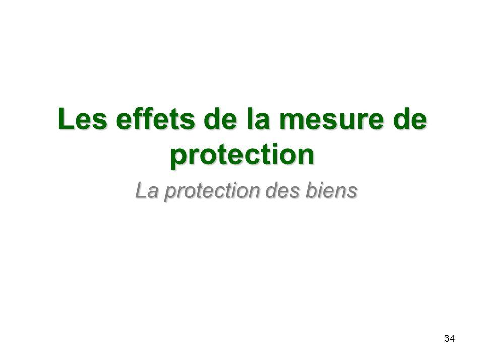 Les effets de la mesure de protection La protection des biens 34