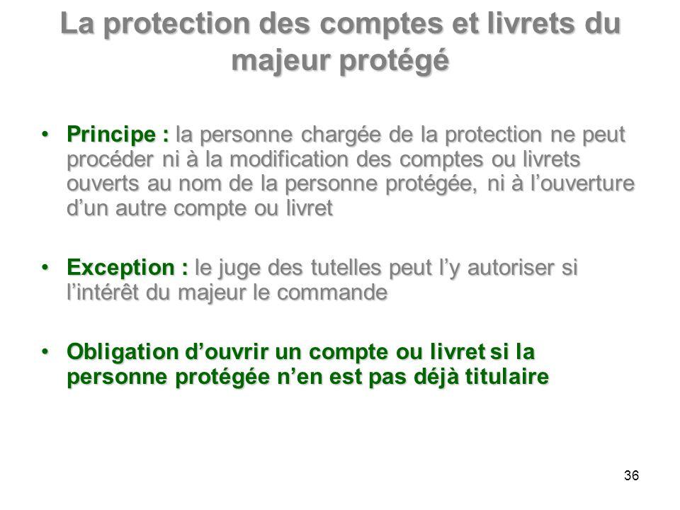 La protection des comptes et livrets du majeur protégé Principe : la personne chargée de la protection ne peut procéder ni à la modification des compt
