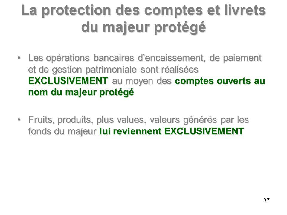La protection des comptes et livrets du majeur protégé Les opérations bancaires dencaissement, de paiement et de gestion patrimoniale sont réalisées E