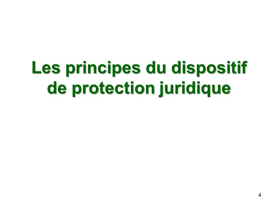 Les principes du dispositif de protection juridique 4
