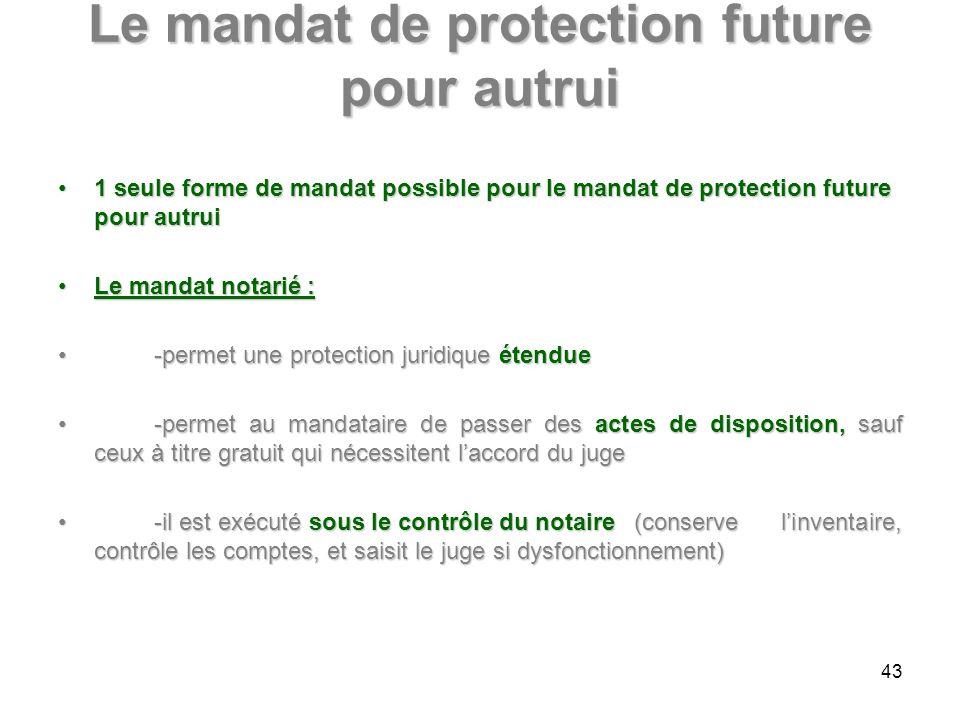 Le mandat de protection future pour autrui 1 seule forme de mandat possible pour le mandat de protection future pour autrui1 seule forme de mandat pos