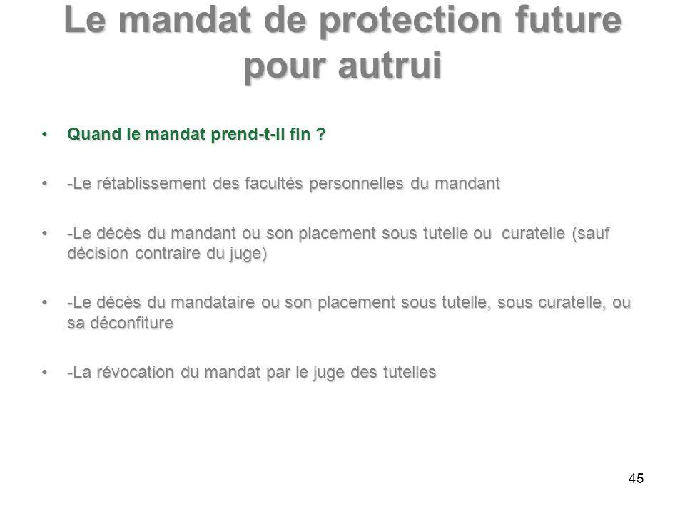 Le mandat de protection future pour autrui Quand le mandat prend-t-il fin ?Quand le mandat prend-t-il fin ? -Le rétablissement des facultés personnell