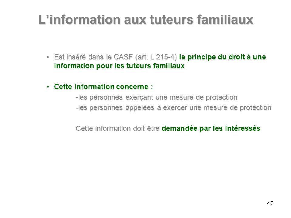 Linformation aux tuteurs familiaux Est inséré dans le CASF (art. L 215-4) le principe du droit à une information pour les tuteurs familiauxEst inséré