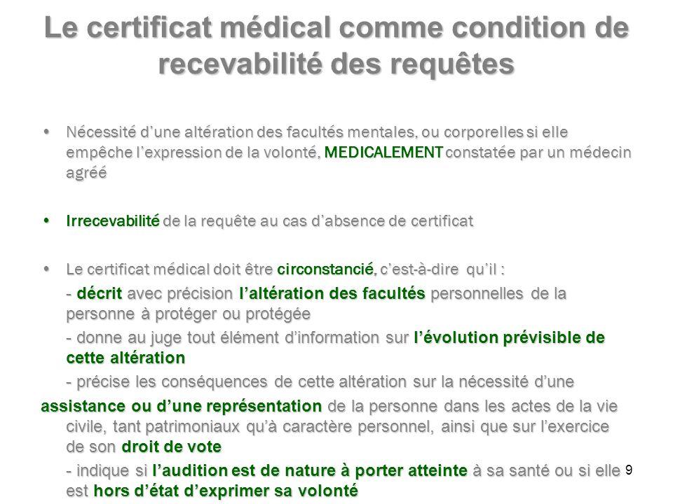 Le certificat médical comme condition de recevabilité des requêtes Nécessité dune altération des facultés mentales, ou corporelles si elle empêche lexpression de la volonté, MEDICALEMENT constatée par un médecin agrééNécessité dune altération des facultés mentales, ou corporelles si elle empêche lexpression de la volonté, MEDICALEMENT constatée par un médecin agréé Irrecevabilité de la requête au cas dabsence de certificatIrrecevabilité de la requête au cas dabsence de certificat Le certificat médical doit être circonstancié, cest-à-dire quil :Le certificat médical doit être circonstancié, cest-à-dire quil : - décrit avec précision laltération des facultés personnelles de la personne à protéger ou protégée - donne au juge tout élément dinformation sur lévolution prévisible de cette altération - précise les conséquences de cette altération sur la nécessité dune assistance ou dune représentation de la personne dans les actes de la vie civile, tant patrimoniaux quà caractère personnel, ainsi que sur lexercice de son droit de vote - indique si laudition est de nature à porter atteinte à sa santé ou si elle est hors détat dexprimer sa volonté 9