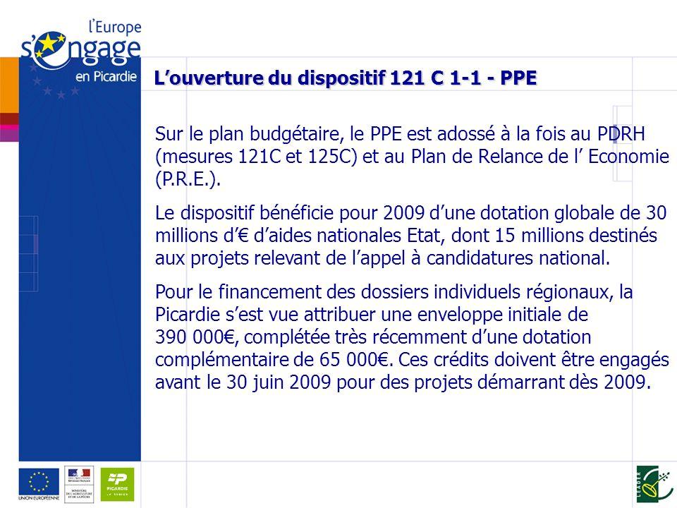 Louverture du dispositif 121 C 1-1 - PPE Sur le plan budgétaire, le PPE est adossé à la fois au PDRH (mesures 121C et 125C) et au Plan de Relance de l Economie (P.R.E.).