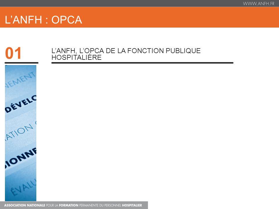 01 LANFH : OPCA LANFH, Organisme Paritaire Collecteur Agréé, est lorganisme chargé de collecter des fonds pour financer les formations professionnelles des personnels non médicaux de la Fonction Publique Hospitalière (700 Millions deuros pour lANFH en 2012).
