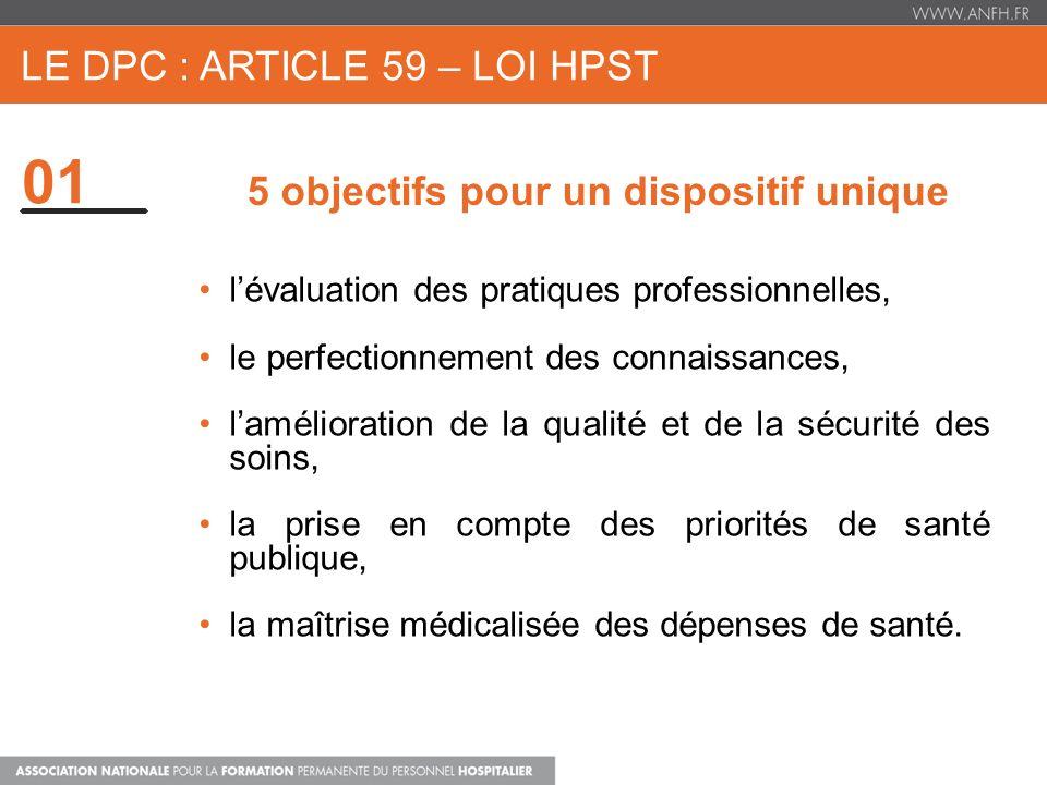 01 LE DPC : ARTICLE 59 – LOI HPST 5 objectifs pour un dispositif unique lévaluation des pratiques professionnelles, le perfectionnement des connaissan
