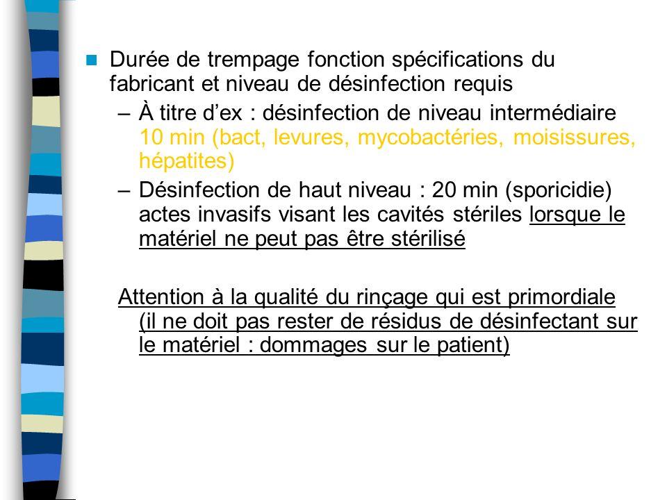 Durée de trempage fonction spécifications du fabricant et niveau de désinfection requis –À titre dex : désinfection de niveau intermédiaire 10 min (ba