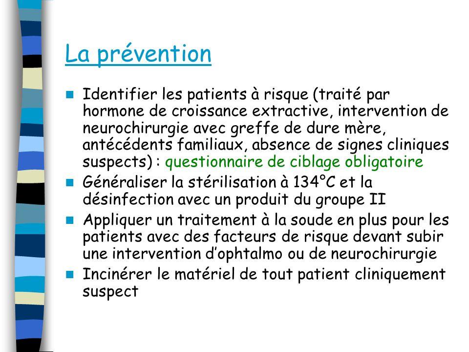 La prévention Identifier les patients à risque (traité par hormone de croissance extractive, intervention de neurochirurgie avec greffe de dure mère,