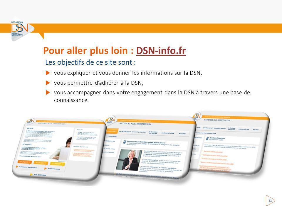 Pour aller plus loin : DSN-info.frDSN-info.fr Les objectifs de ce site sont : vous expliquer et vous donner les informations sur la DSN, vous permettre dadhérer à la DSN, vous accompagner dans votre engagement dans la DSN à travers une base de connaissance.