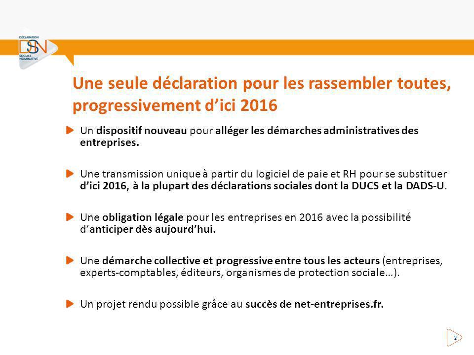 Une seule déclaration pour les rassembler toutes, progressivement dici 2016 2 Un dispositif nouveau pour alléger les démarches administratives des entreprises.