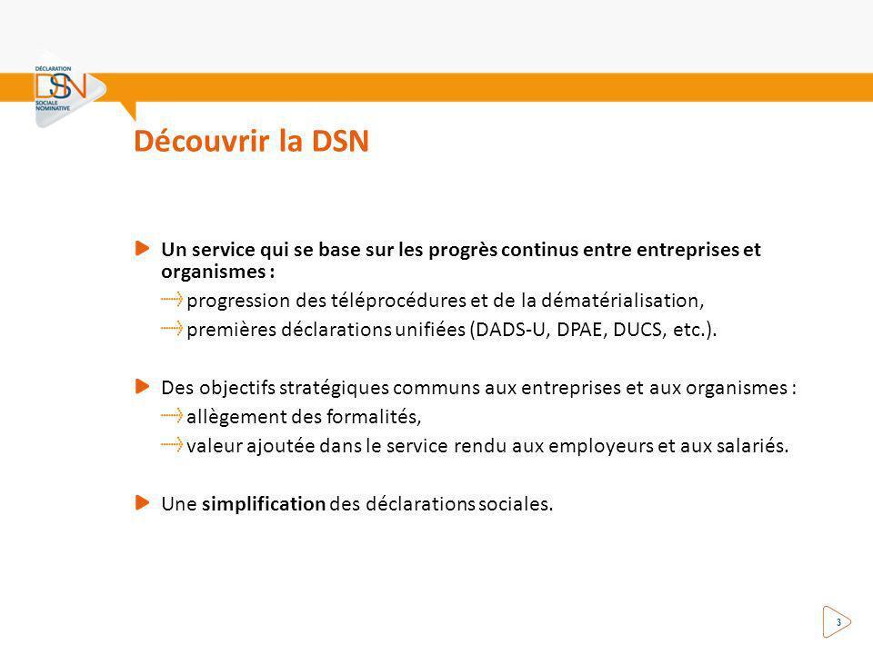 3 Découvrir la DSN Un service qui se base sur les progrès continus entre entreprises et organismes : progression des téléprocédures et de la dématérialisation, premières déclarations unifiées (DADS-U, DPAE, DUCS, etc.).