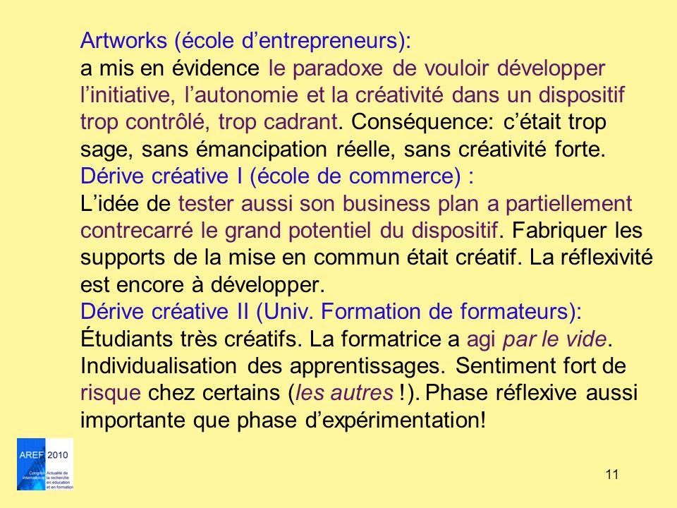 11 Artworks (école dentrepreneurs): a mis en évidence le paradoxe de vouloir développer linitiative, lautonomie et la créativité dans un dispositif tr