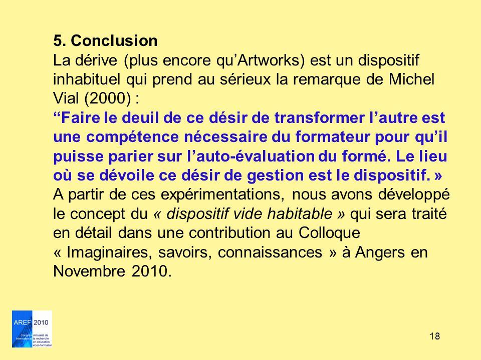 18 5. Conclusion La dérive (plus encore quArtworks) est un dispositif inhabituel qui prend au sérieux la remarque de Michel Vial (2000) :Faire le deui