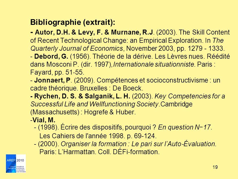 19 Bibliographie (extrait): - Autor, D.H. & Levy, F. & Murnane, R.J. (2003). The Skill Content of Recent Technological Change: an Empirical Exploratio