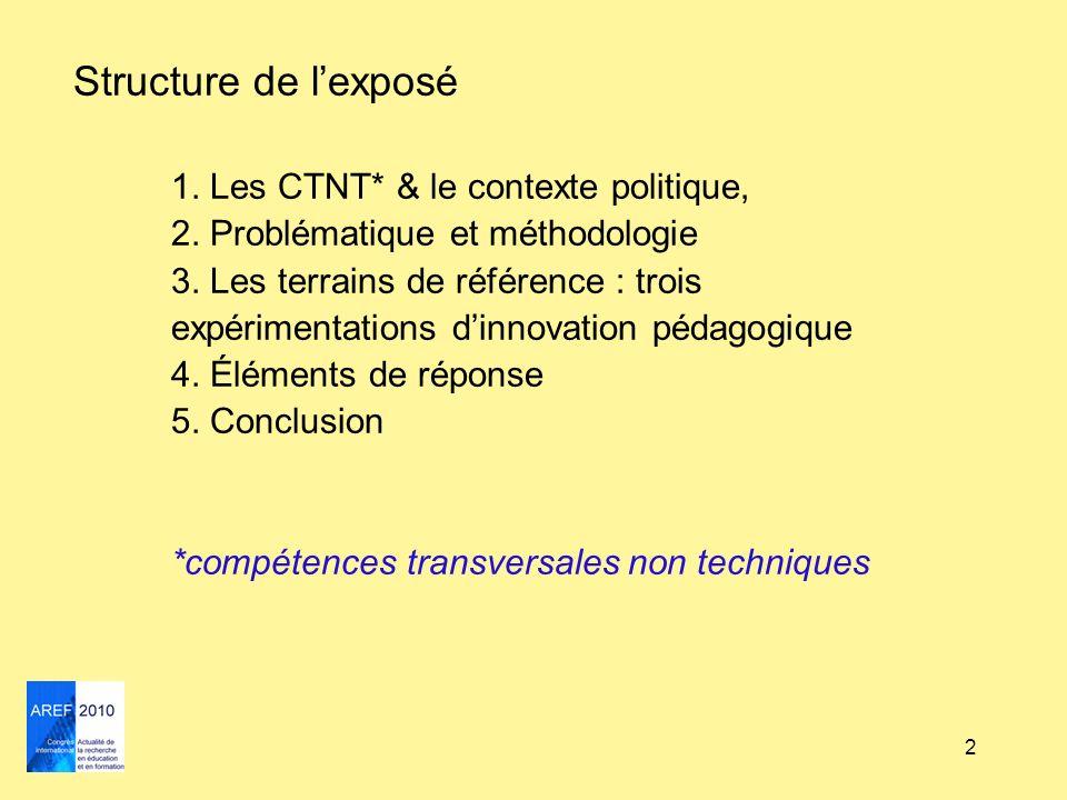 2 Structure de lexposé 1. Les CTNT* & le contexte politique, 2. Problématique et méthodologie 3. Les terrains de référence : trois expérimentations di