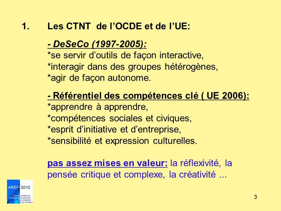 3 1.Les CTNT de lOCDE et de lUE: - DeSeCo (1997-2005): *se servir doutils de façon interactive, *interagir dans des groupes hétérogènes, *agir de faço