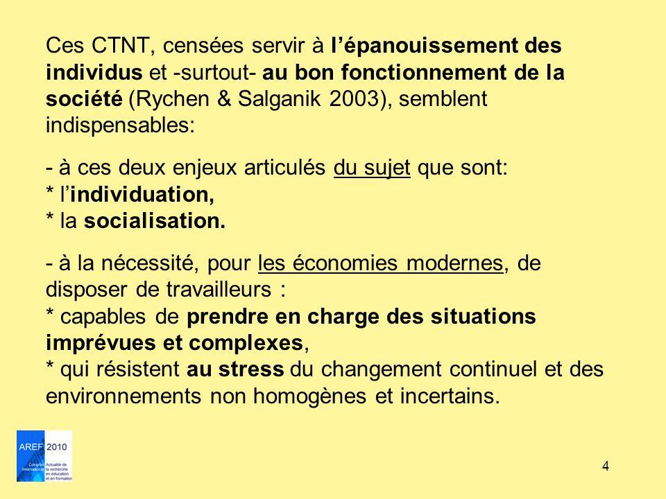 4 Ces CTNT, censées servir à lépanouissement des individus et -surtout- au bon fonctionnement de la société (Rychen & Salganik 2003), semblent indispe