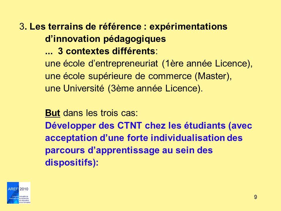 9 3. Les terrains de référence : expérimentations dinnovation pédagogiques... 3 contextes différents: une école dentrepreneuriat (1ère année Licence),