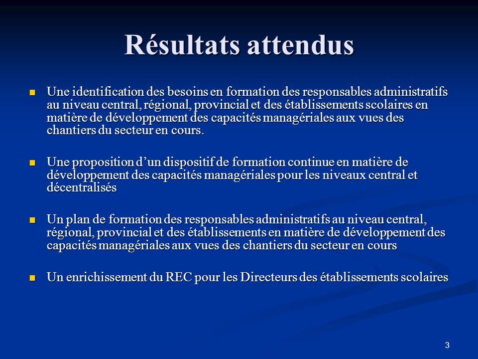 3 Résultats attendus Une identification des besoins en formation des responsables administratifs au niveau central, régional, provincial et des établissements scolaires en matière de développement des capacités managériales aux vues des chantiers du secteur en cours.