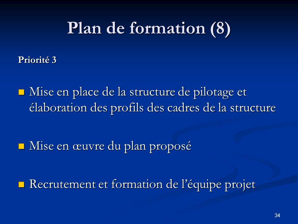34 Plan de formation (8) Priorité 3 Mise en place de la structure de pilotage et élaboration des profils des cadres de la structure Mise en place de la structure de pilotage et élaboration des profils des cadres de la structure Mise en œuvre du plan proposé Mise en œuvre du plan proposé Recrutement et formation de léquipe projet Recrutement et formation de léquipe projet