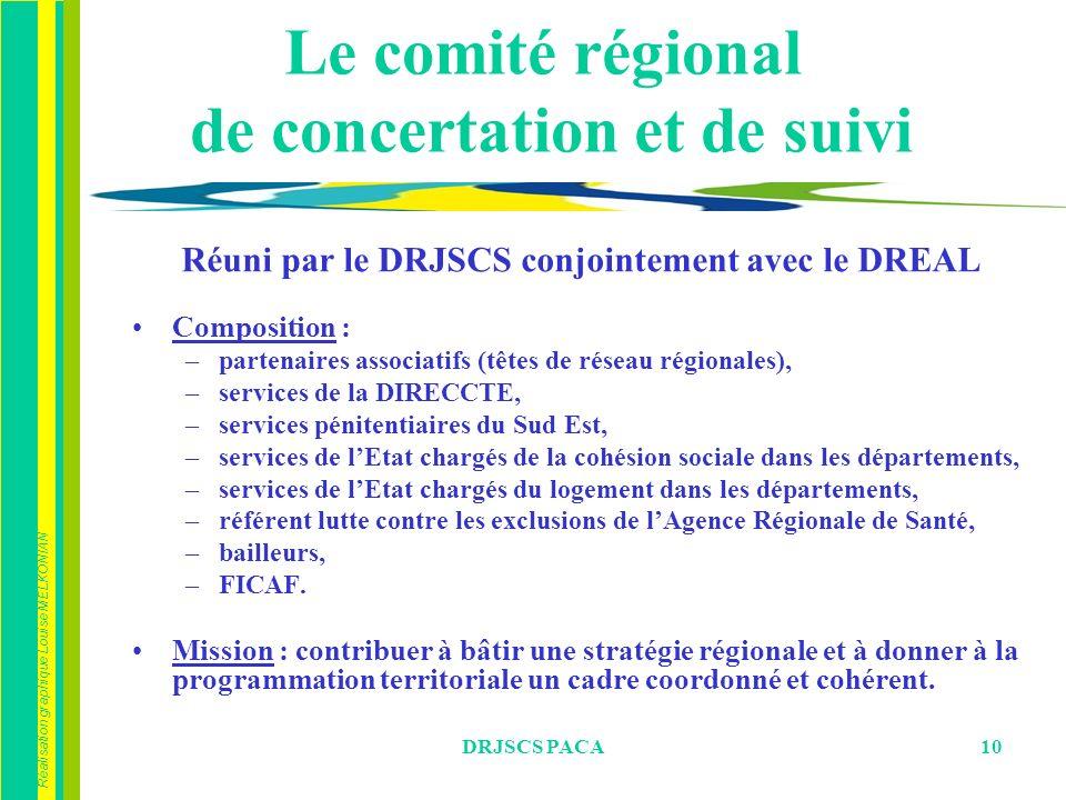 Réalisation graphique Louise MELKONIAN DRJSCS PACA10 Le comité régional de concertation et de suivi Réuni par le DRJSCS conjointement avec le DREAL Co