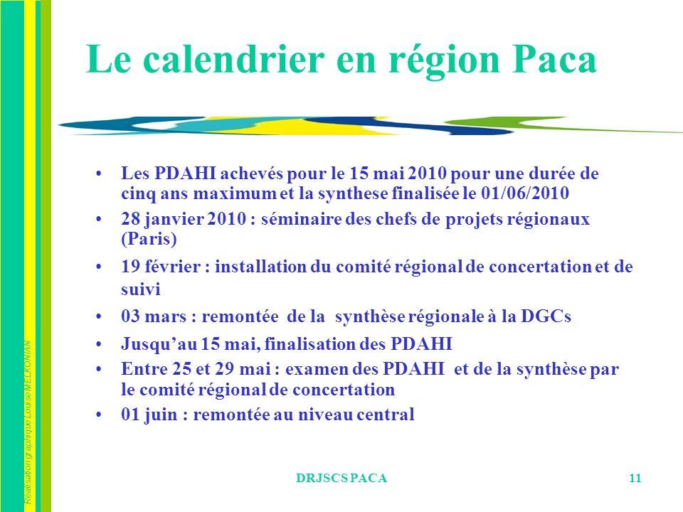 Réalisation graphique Louise MELKONIAN DRJSCS PACA11 Le calendrier en région Paca Les PDAHI achevés pour le 15 mai 2010 pour une durée de cinq ans max